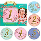 Baby Monthly Stickers-24 Floral Milestone Stickers with...