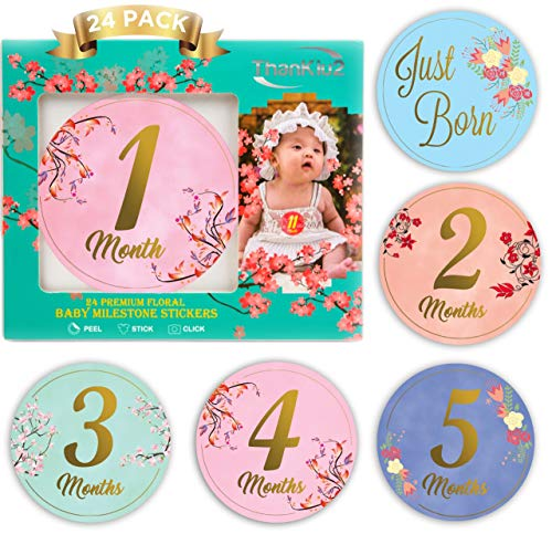 Baby Monthly Stickers-24 Floral Milestone Stickers with Shiny Metallic Gold Letters for Newborns | Celebrate 0-12 Months, Babys First Year Birthday, & Holidays | Awesome Baby Shower Gift -by -