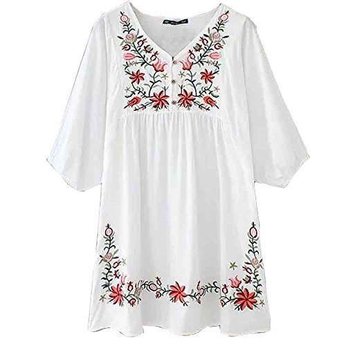 Ashir Aley White Mexican Embroidered Peasant Dressy Tops Blouses,White,OS