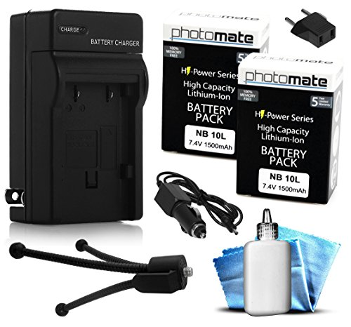 (2 Pack) PhotoMate NB-10L NB10L Ultra High Capacity Rechargeable Battery (1500mAh) + Rapid Home AC Wall Charger + Car Adapter + Euro Plug + Cleaning Kit + Mini Tripod for Canon Powershot SX40 HS, SX40HS, SX50 HS, SX50HS, G1X, G15, G16, SX60 HS, SX60HS, G1 X Digital Camera