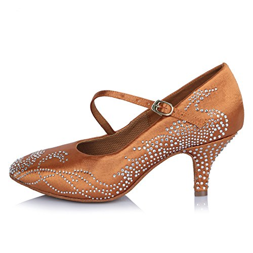 Roymall Kvinna Latinska Dansskor Med Strass Balsal Salsa Tango Prestanda Skor, Modell Afct306 Brun