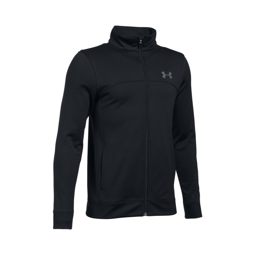 Under Armour Boys' Pennant Warm Up Jacket, Black/Graphite, Youth Small