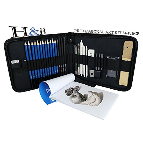 One Drawing Kit (34 Piece Professional Art Kit Drawing Drawing Pencils with Sketch Kit, Charcoal Pencils, Graphite Pencils, Erasers and Painting Tools Sketch Kit Bag)