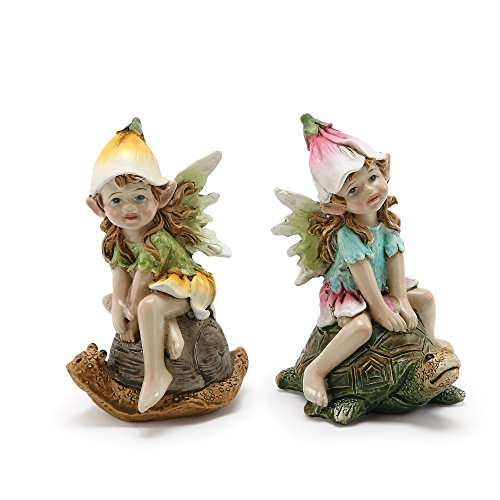 Napco Whimsical Fairies On Turtle And Snail 3 x 4.25 Resin Garden Figurines, Set of 2 ()