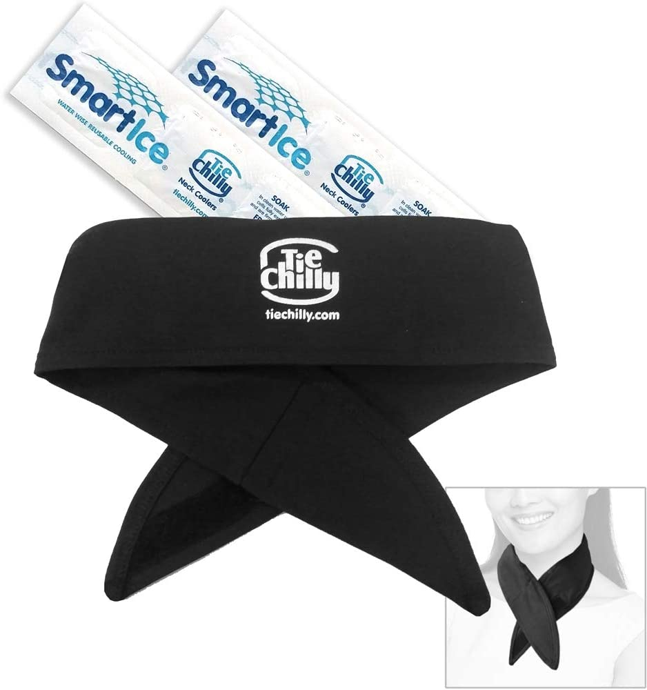 Tie Chilly Ice Cool Neck Cooler Bandana, with 2 Smartice® Cooling Strips, Enabling prolonged Cool Comfort at Home, Work or Play. (Black with Logo)