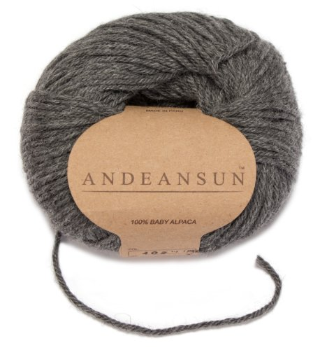 100% Baby Alpaca Yarn (Weight #3) DK - Set of 3 - AndeanSun - Luxuriously Soft for Knitting, Crocheting - Great for Baby Garments, Scarves, Hats, and Craft Projects - (Medium Grey)