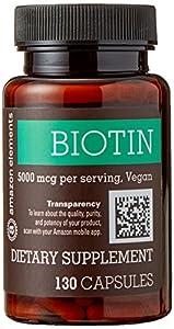Amazon Elements Biotin 5000 mcg, 130 Capsules