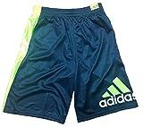 Adidas Boy's Basketball Athletic Shorts, Gray/Green Large 14/16