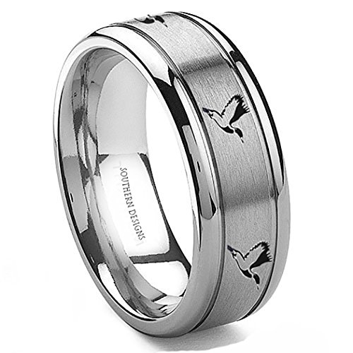Flying Duck Design - Southern Designs Tungsten Duck Flying 8mm Ring (10.5)