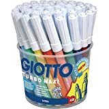 Giotto Turbo Maxi - Bote 48 rotuladores escolares de colores, punta bloqueada que no se hunde extra gruesa de 5 mm, tinta base agua súper lavable