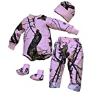 Mossy Oak Pink Baby Girls Camo Outfit | Shirt Pant Cap Booties Set 4PC (3 - 6 Month 9-12 lbs, Mossy Oak)