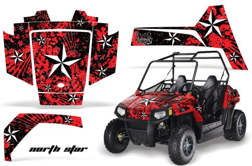 AMRRACING Polaris RZR 170 Youth All Years Full Custom UTV Graphics Decal Kit - Northstar Silver Red (170 Polaris Graphic Kits)