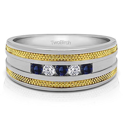 14k TwoTone Gold Mens Ring Diamonds(G-H,I2-I3) and Sapphire(0.5Ct) Size 3 To 15 in 1/4 Size Intervals