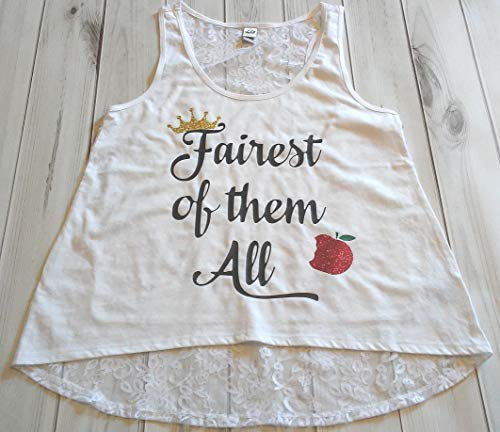 Girls Snow White Evil Queen Glitter Sparkle Fairest of them all Crown Apple Birthday Lace Hi Low Tank Top Small Medium Large 7-16