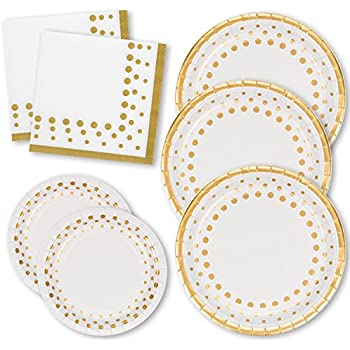 Gift Boutique Gold Dot Party Pack for 50 Guests! 50 Dinner Plates, 50 Dessert Plates + 100 Luncheon Napkins; Made in USA