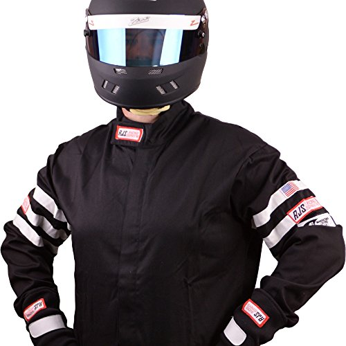 RJS Racing FIRE Suit Racing Jacket Black & White Stripes Adult XL SFI 3.2A/1 ()