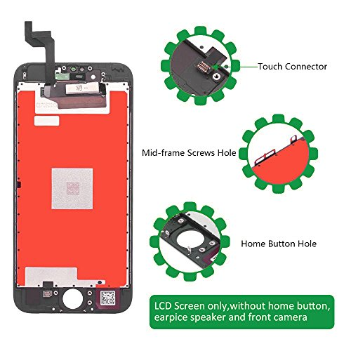 Screen Replacement LCD Display for iPhone 6s LCD Touch Screen Digitizer Replacement Full Assembly with Repair Tool Kit White Black (Black, IPhone 6s) by i DIY (Image #3)