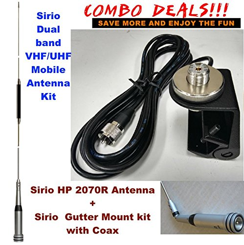 Combo: Sirio HP 2070R VHF/UHF Dual Band Mobile antenna with Gutter Mount Kit