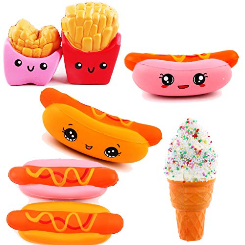 usage Package | Slow Rising Squishy Food | 3 Pack Ice Cream & Hotdog Sausage & American Fries Kawaii Scented Mini Stress Reliever | ()