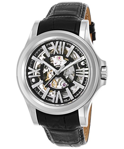 Bulova Men's 'Kirkwood' Swiss Automatic Stainless Steel and Leather Casual Watch, Color:Black (Model: 63A122)