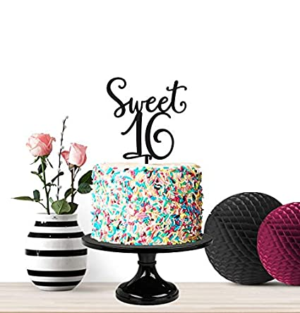 Amazon.com | Sweet 16, Birthday Cake Topper, Sweet Sixteen ...