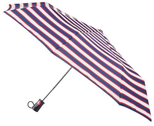 Totes Auto Open Sunguard Umbrella Rain + Sun UPF 50+, 42in. Large Coverage RED WHITE & BLUE
