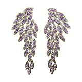 #4: Angel Wings Sparkling Unique Statement Wedding Bridal Crystal Chandelier Drop Earrings for Women Perfect for Party - BOX, CARD & ENVELOPE INCLUDED FOR EASY GIFTING