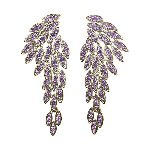 Angel Wings Sparkling Unique Statement Wedding Bridal Crystal Chandelier Drop Earrings for Women Perfect for Party - BOX, CARD & ENVELOPE INCLUDED FOR EASY GIFTING (Purple) (Rhinestone Purple Pink)