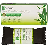 Best Activated Charcoal Shoe Deodorizer By Sagano - 2x All Natural Activated Charcoal Odor Absorber Inserts - Stop Stinky Feet and Smelly Socks - Prevents Mold and Bacteria - Smoke Smell Remover