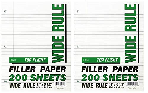 Top Flight Filler Paper, 8.5 x 11 Inches, Wide Rule, 200 Sheets (12803) (2-(Pack of 200 Sheets))