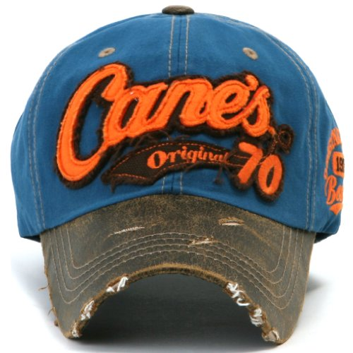 Distressed Snapback ililily Baseball Vintage Hat Trucker Azul Embroidered Cane's Cap wxaqrI5wY