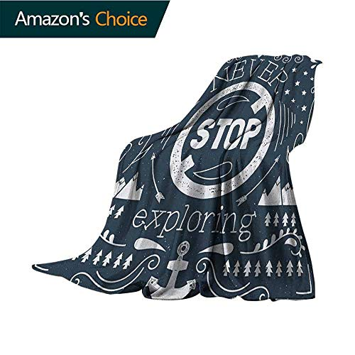 Quote King Size Blanket,Anchor and Star Silhouette with Never Stop Exploring Slogan on Dark Backdrop for Bed & Couch Sofa Easy Care,30
