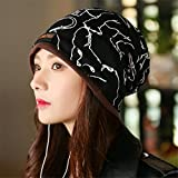 Hat female postpartum confinement in autumn and winter all-match dual-purpose collar Baotou leisure scarf thickening set head cap,Animal pattern black