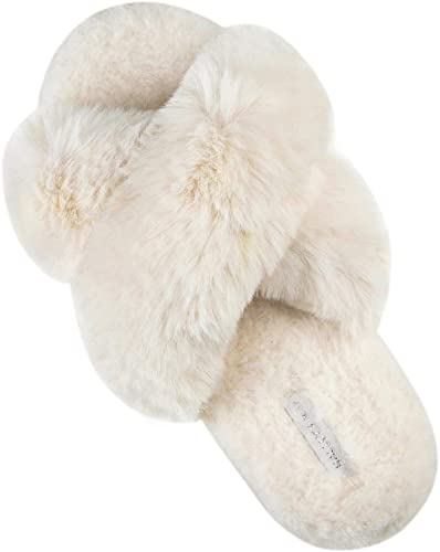 Ladies Slippers Beige Cushioned Indoor Soft Warm V Front Shoes Sizes 4 5 6 7 8