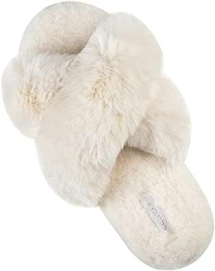 HALLUCI Women's Cross Band Soft Plush Fleece House Indoor or Outdoor Slippers