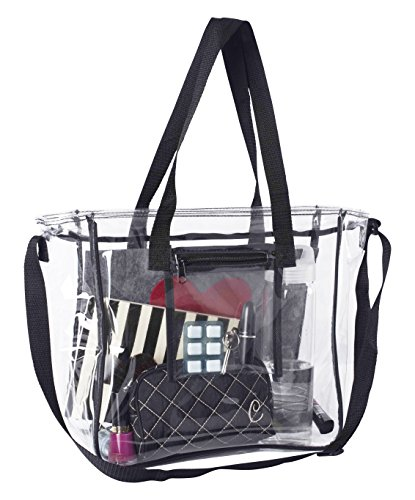 Deluxe Clear Bag | Extra Large Lunch Box with Adjustable Straps & Handles | Tote Container for The Office, Travel, Stadiums & Security Checkpoints for Men, Women & Kids