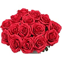 Artificial Flowers AmyHomie Silk Roses Bouquet Home Wedding Decoration Pack of 15 (15, claret-red)