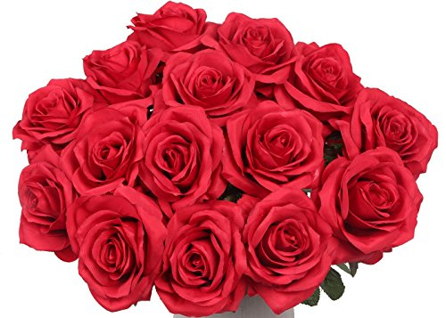 Artificial Flowers AmyHomie Silk Roses Bouquet Home Wedding Decoration Pack of 15 (15, claret-red) (Rose Red Vase)