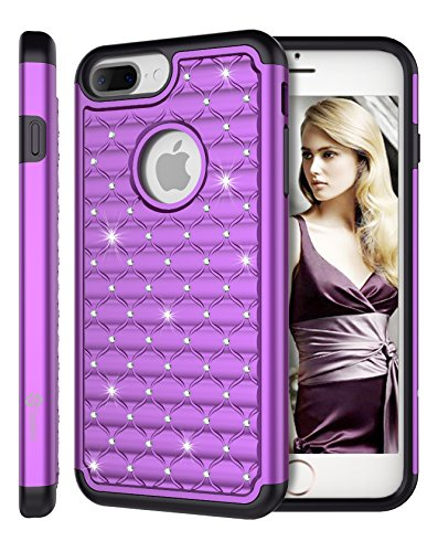 Crystal Bling Case Cover - iPhone 8 Plus/iPhone 7 Plus Case, Style4U Shock Resistant Studded Rhinestone Crystal Bling Hybrid Armor Case Cover w/ 1 Stylus [Purple / Black]