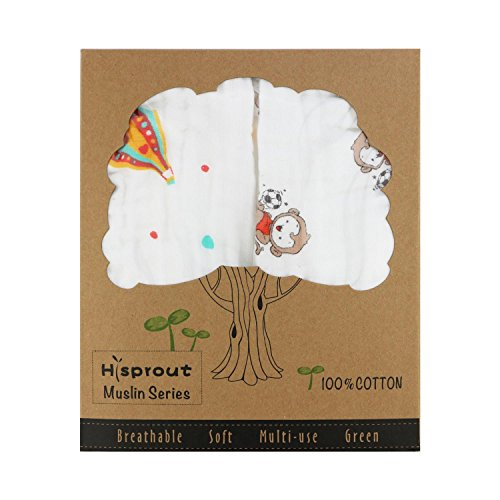 Hi Sprout Super Soft Muslin 100% Cotton Baby Burp Cloth Bib Pads, 2pcs (Balloon & Monkey)
