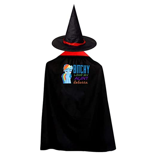 f7a3e24cc Amazon.com: Outlaw Hero Bitchy Aunt Children's Halloween Cloak Black  Ponchos Cape With Wizard Hat Costume For Kids: Clothing