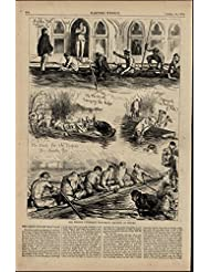 Oxford England University Boat Race Rowing nice 1875 great old print for display
