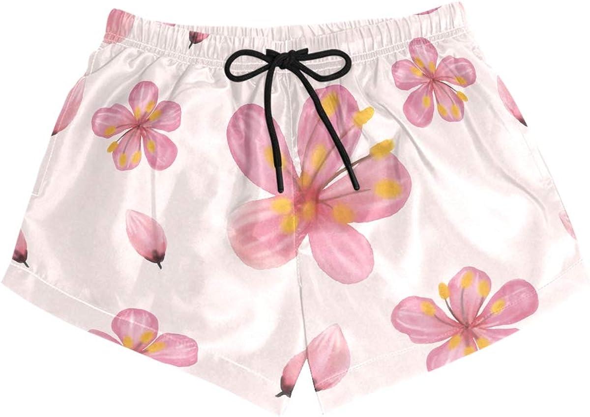 CENHOME Women Swim Trunks Cherry Blossom Flowers Pattern Beach Board Shorts