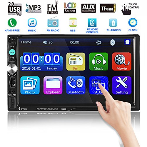 Catuo Bluetooth Car Touch Screen Stereo Audio Video Receiver Player,  7 Inch 1080P Car Media MP5 Player with Rear View Camera Supported, FM Radio/USB/TF/AUX-in/Hands-free Call by CATUO