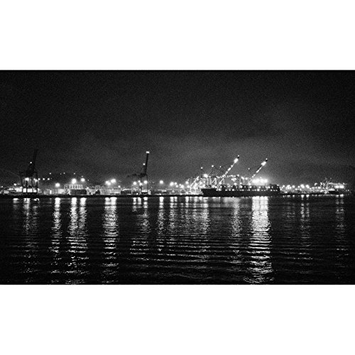 Night Time Loading Freight Onto Cargo Ships Seattle Harbor Pacific Northwest Fine Art Photography Black and White Print