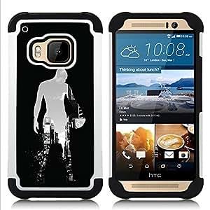 For HTC ONE M9 - BASKETBALL CITY SILHOUETTE Dual Layer caso de Shell HUELGA Impacto pata de cabra con im????genes gr????ficas Steam - Funny Shop -