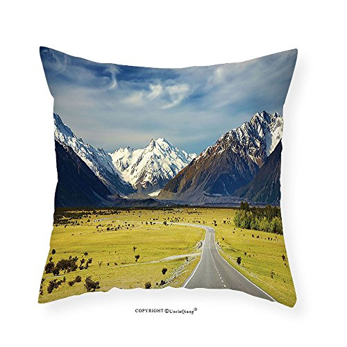 VROSELV Custom Cotton Linen Pillowcase Landscape Apartment Decor Landscape with Road and Snow Capped Mountains Southern Alps New Zealand Picture Bedroom Living Room Dorm Navy White Olive - Boyfriend Selena New Gomez