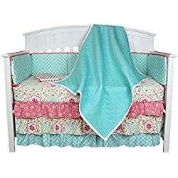 Gia Aqua Quilted Coverlet 8-in-1 Baby Girl Crib Bedding Set for girls with Bumper by The Peanut Shell
