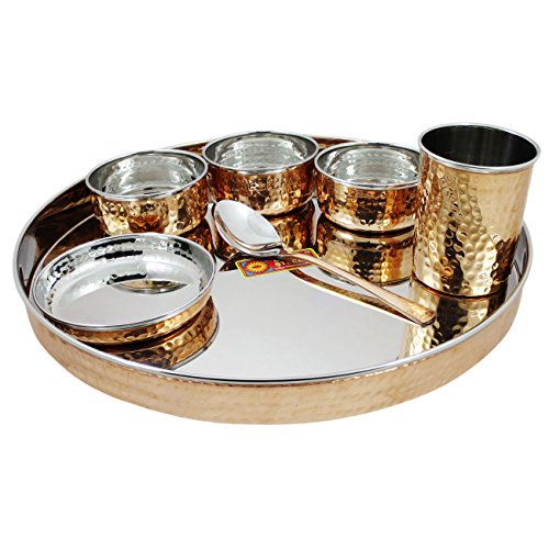 Dinner Stainless Steel Set - Indian Dinnerware Stainless Steel Copper Traditional Dinner Set of Thali Plate, Bowls, Glass and Spoon, Diameter 13 Inch