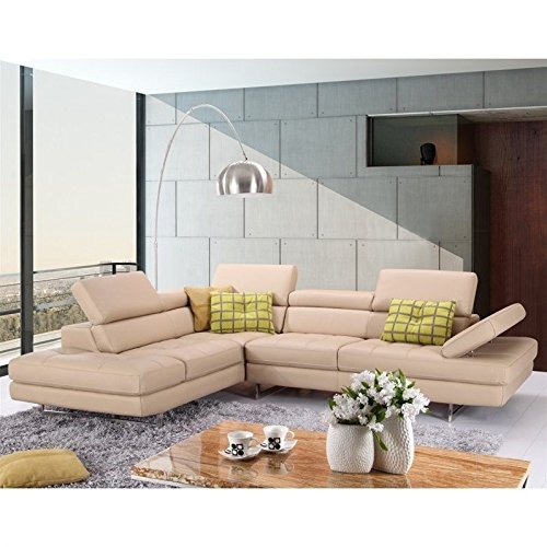 JM Furniture A761 Italian Leather Left Sectional in Peanut